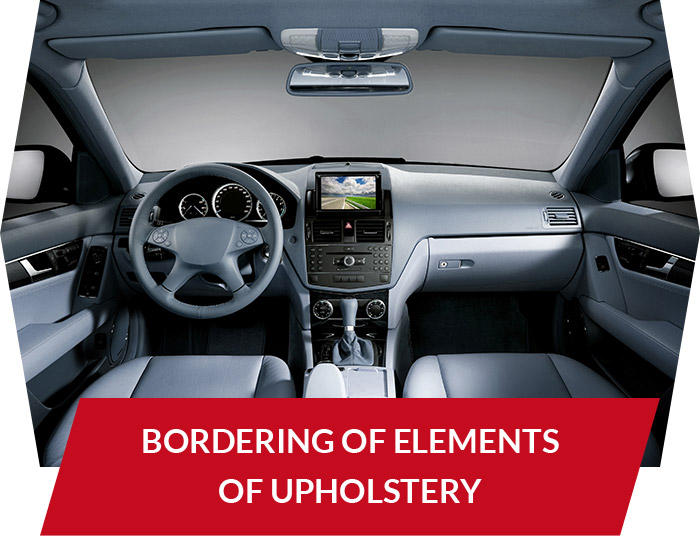 Bordering of elements of upholstery